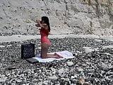 Woman strips off at the nudist beach - Hidden Cam