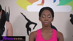 Fitness Rooms Interracial threesome in yoga class