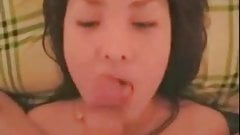 Cute asian chick blows and gets a facial