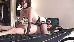 KINKY MILF MAKES HANDCUFFED LAMER CLEAN UP HER PUSSY