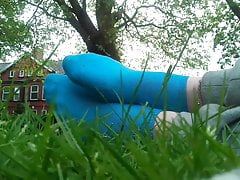 Teasing with my Blue Socks in a Park's Thumb