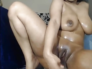 Busty Ebony Babe Fucking Her Self With Her Dildo