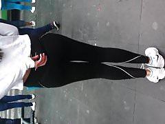 Hot teen in black spandex