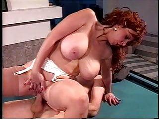Mature big tits sucks big cock on pool table