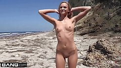 BANG Real Teens - Emma Hix Beachfront strip tease