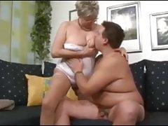 German Granny fucks young stranger boy