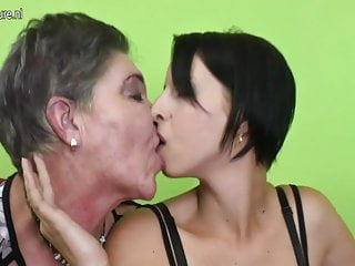 Grandma with hairy cunt fucks young girl