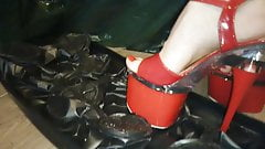 Lady L crush plastic box  with sexy red high heels .