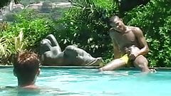 GAY Interracial in outdoor POOL (BIG BLACK COCKS)
