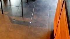 Candid Feet in Flip Flops Last Hot October Day Starbucks