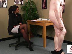 British office voyeur tells her sub to jerk
