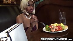 Eating Food In Public & Flash My Large Brown Titties to Boss