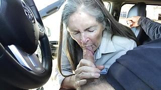 Grandma sucks in the car