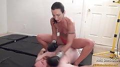 Tall Woman in Bikini Beating and Humillating Guy