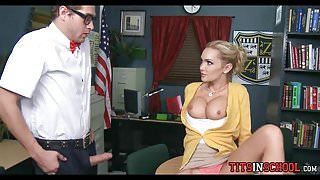 Nerd Fucks with Blonde Babe at School