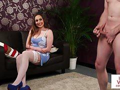 Stockinged brit voyeur instructing sub to tug
