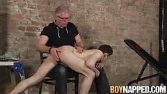Young sub Milo Millis spanked before cumming by handjob