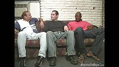 Black men sharing the ass of a funny white guy