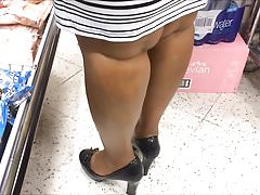 Candid Shoe Fetish - Close Up of Black Lady's Heels & Legs's Thumb