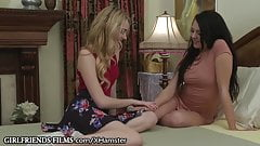 Lesbian Teen Megan Sage Scissors Small Tit Blonde Classmate