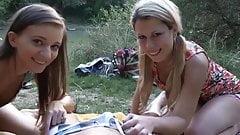 Two anxious girls came to sunbathe