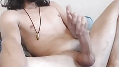 long haired hunk with a long dick jerking of