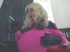 Busty Blonde Smoking VS 120s Snaps & Leather Gloves