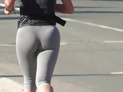Nice ass with thong and grey spandex