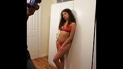 Real amateur model posing for lingerie photo shoot