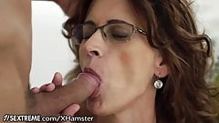 Glasses GILF Loves Taking Young Studs Cock's Thumb