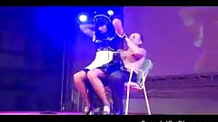 Big tits stripper teasing guy scandalous on the stage