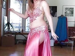 Sexy Girl In Satin Skirt Belly Dance