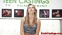Deepthroating teen fucked at brutal casting