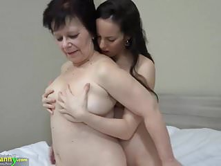 OLDNANNY Hot girl with strapon fucks big fat granny