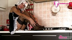 French Maid in stockings drives you crazy with her feet