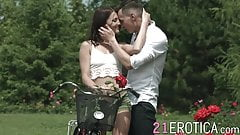 Passionate lady anally screwed in the woods by her boyfriend