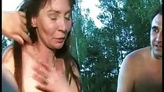 Russian Milfs outdoor fun .. her hubby watch