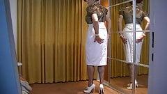 Extreme heeled white Oxfords