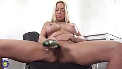 BIG cucumber and hungry mature busty mom