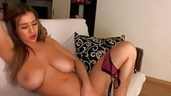 Big boobies model gently strips and masturbates