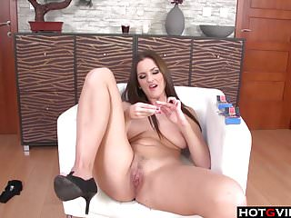 Brunette chick playing with herself