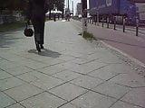 Leatherrette Berlin Street Candid in Miss Sixty part 1