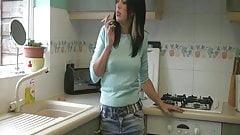 teen smoking in kitchen