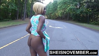 Risky Middle Of Street Blowjob & Big Ass Ebony Booty Out POV
