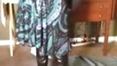 wearing her black pantyhose black boots upskirt