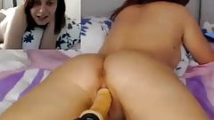 Girl fucked by dildo machine, POV webcam