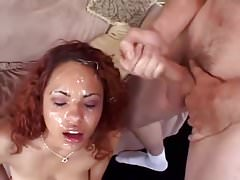 Latina gets multiple facials and eats the cum