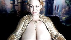 Mature lady with immense boobs and dripping hairy pussy