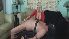 powerful woman controls massive cock during handjob milking