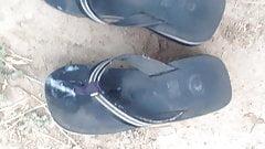 ( vid 3 )wearing cumed sandals